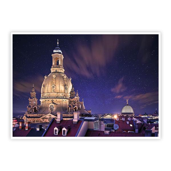 Ansichtskarte Dresden - Dresdner Frauenkirche unterm Sternenhimmel - VPE - 50 Stück