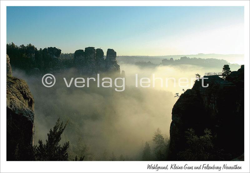 Ansichtskarte Wehlgrund, Kleine Gans und Felsenburg Neurathen - VPE - 50 Stück