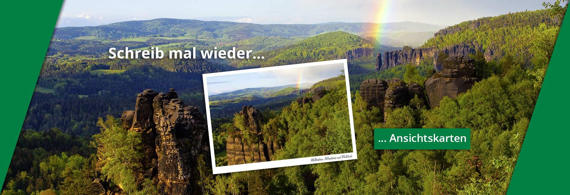 Ansichtskarte Bloßstock Müllerstein Regenbogen